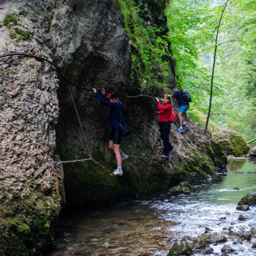 Cheie sălbatică în apropiere de Arieșeni ce adăpostește o cascadă, peșteri și un izbuc. Adrenalină pe lanțuri.